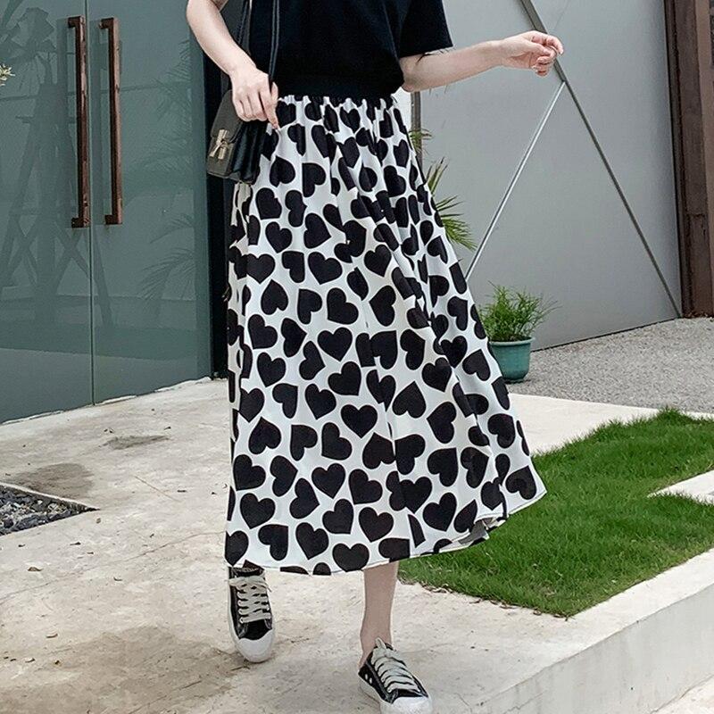 Beiyingni saia de cintura alta feminina coração impressão maxi a linha tutu saias casual chiffon vintage elegante clássico saias chique forro