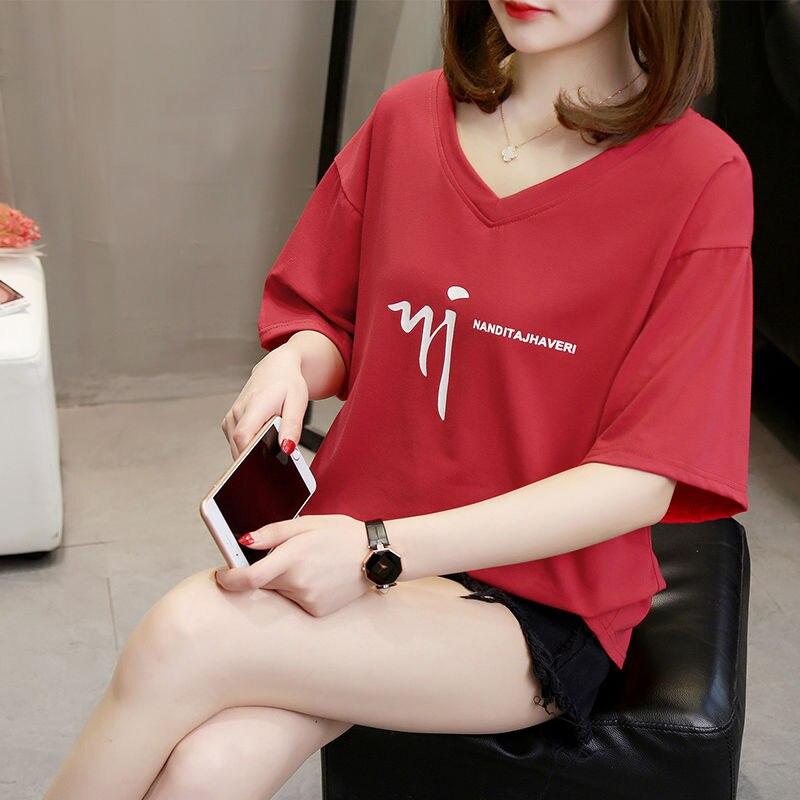 Camiseta holgada de talla grande para mujer, Camiseta con cuello en V y manga corta ins, de talla grande, 200 libras, versión coreana