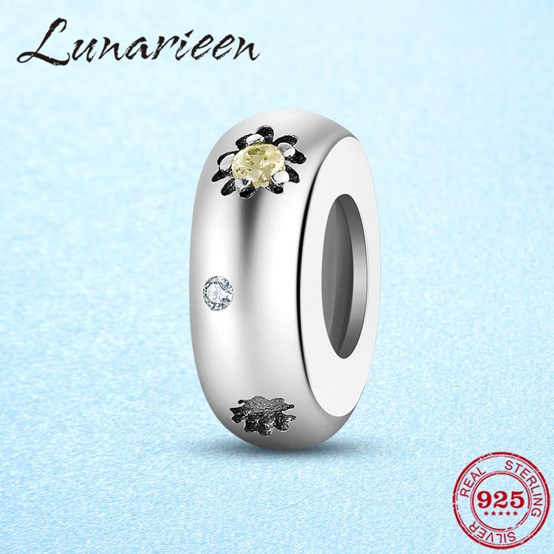 Echt 925 Sterling Silber Spacer Stopper Mit Silikon Perlen Sunflower Fit Original europeu Charme Frauen Armband DIY Schmuck