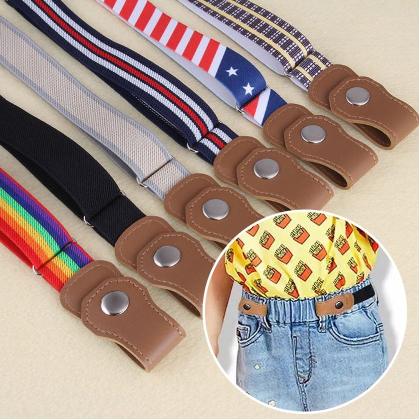 New Kids Buckle-Free Elastic Belt Waist No Buckle Stretch Belts Toddlers Adjustable Boys and Girl`s Belts for Jeans