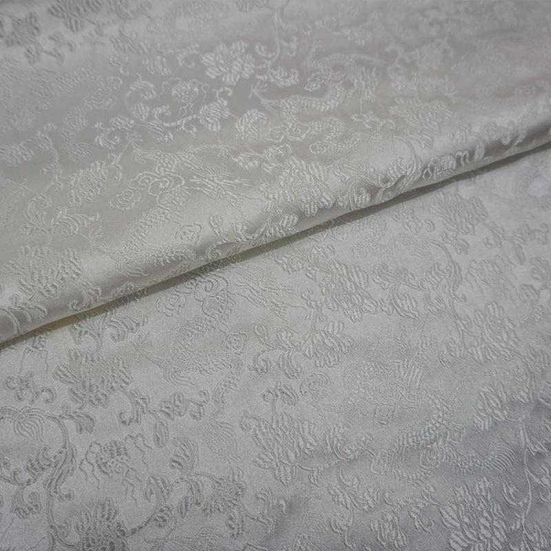 Dragón blanco Damasco en jacquard de tela de costura DIY abrigo cortina Mesa paño sofá cojín tapicería de la decoración del hogar