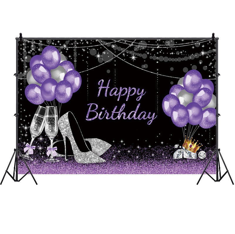 Purple Happy Birthday Backdrop Diamond Balloon Lady Party Photography Background Photo Studio Decorations Supplies independence day firecracker birthday backdrop 4th of july first birthday party photo background cake table decorations supplies