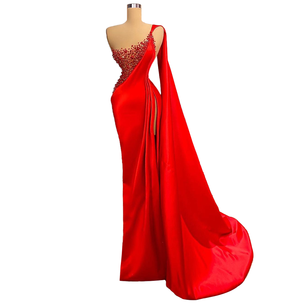 Red Dress With Long Shawl robe longue soirée drills Gown For Women Satin One Shoulder High Slit  Evening Dress Buy China Direct