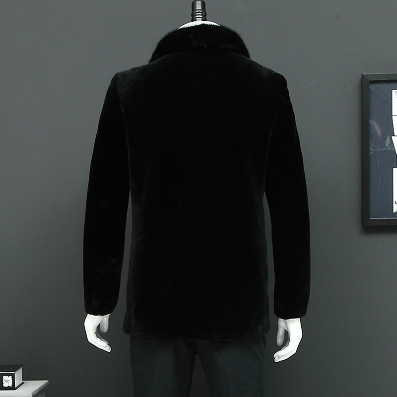 Chaqueta auténtica de invierno para hombre, abrigo de pelo de oveja con cuello de visón, chaqueta de lana cálida para hombre L27202S YY442