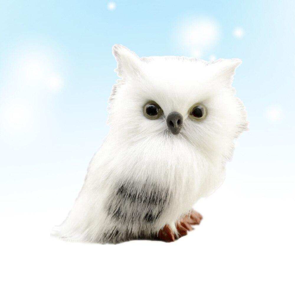 Christmas Simulation Mockup Owl Decoration Mini Desktop Decor for Home Office (White)