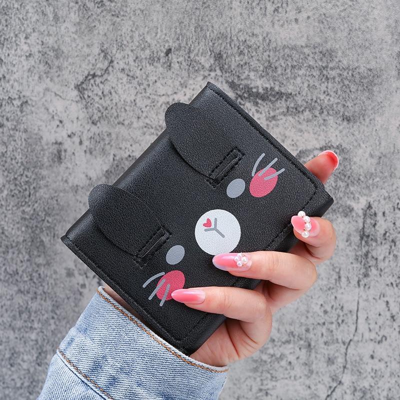 Women Wallets Trifold Cute Cartoon Fashion Coin Pocket Short Leather Carteira Porte Monnaie Femme Credit Card Small Coin Purse