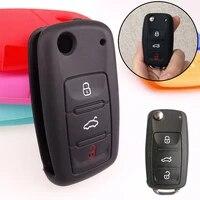 1 pcs silicone flip key case with 3 buttons car key case flip key case