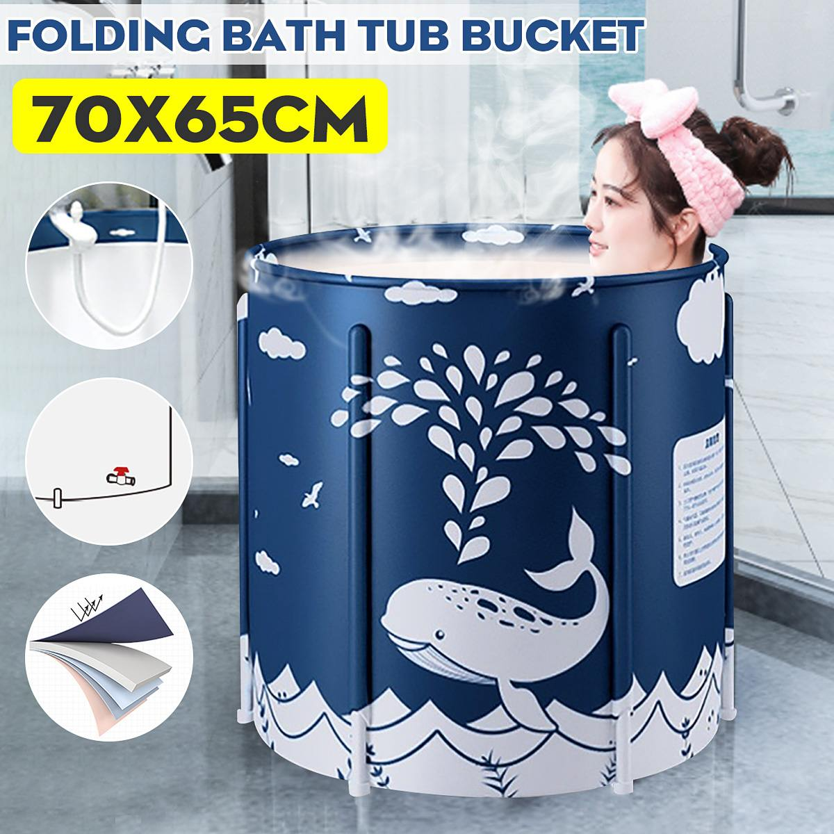 70x65cm Portable Foldable Bathtub Thickened Adult Bathtub Home Single SPA Massage Pool Bathing Bucket Indoor Outdoor Bathtub