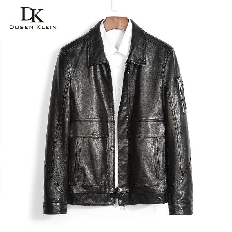 الرجال سترة جلدية حقيقية جلد الغنم الحقيقي سترات من الجلد عادية قصيرة جيوب سوداء الخريف سترة جديدة للرجل 2089