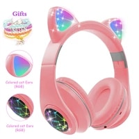 cat ears earphones wireless headphones music stereo blue tooth headphone with mic children daughter fone gamer headset kid gifts