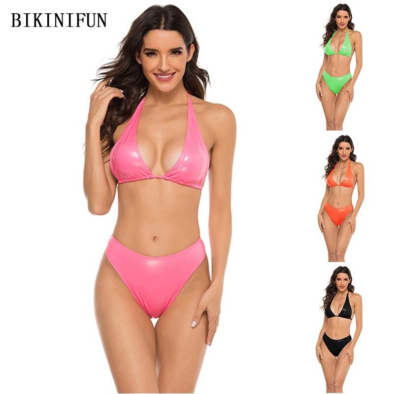 2020 neue Sexy Faux Leder Badeanzug Frauen Dreieck Bralette Beachwear Backless Halter Bademode S-L Mädchen Hohe Taille Bikini Set