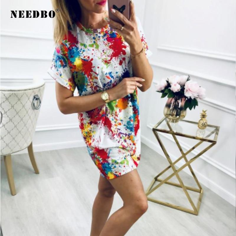 NEEDBO Summer Women Tshirt Dress Sexy Mini Casual Print Multicolor Loose Dresses Free Shipping Lady