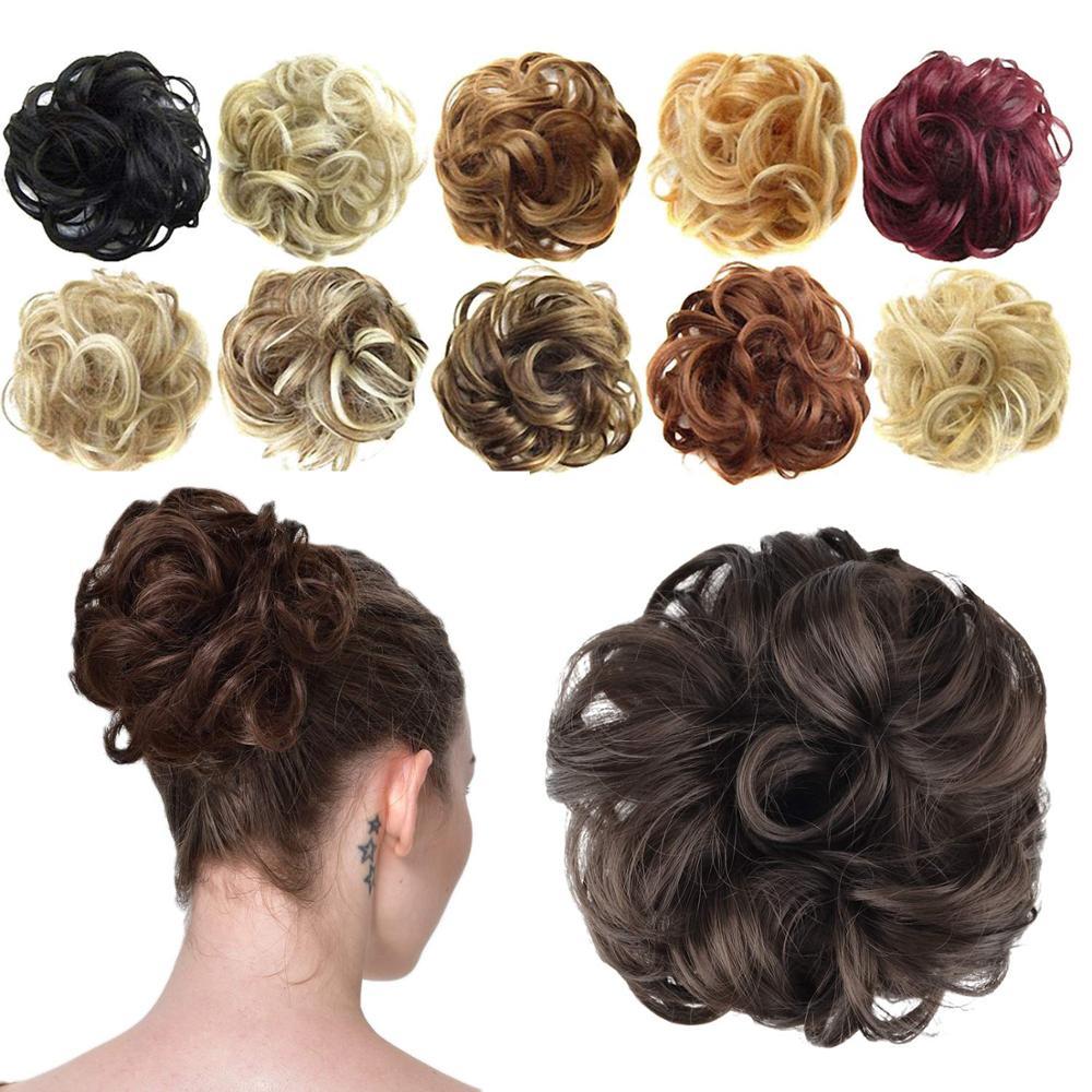 bun bun button Synthetic Bun Extensions Curly Messy Bun Hair bands Scrunchies Elegant Chignons Wedding Hair Piece for Women and Kids
