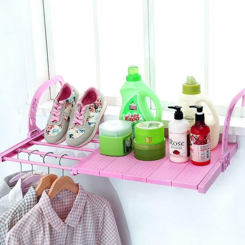 رف قابل للطي متعدد الوظائف للنوافذ ، رف قابل للطي للتجفيف للأحذية ، الشرفة ، ملحقات التخزين المنزلية ، اللون الوردي والأبيض