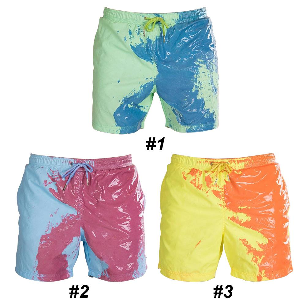 Calções de banho de poliéster calções de banho de praia calças de natação confortável temperatura sensível cor engraçada mudando para homem macio
