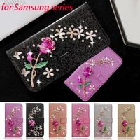girls fashion bling leather flip stand wallet diamond rose flower case for redmi note 10 pro 10 9 8 7 9a 9t foco x3 nfc m3 f3