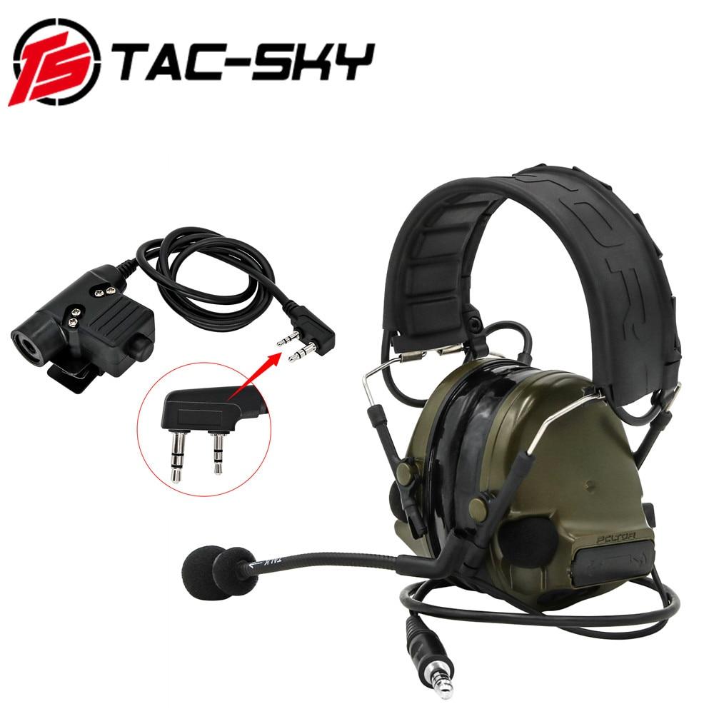 TAC-SKY COMTAC III Tactical COMTAC Silicone Earmuff Noise Reduction Hunting Military Intercom Tactical Headset+ PTT U94   FG