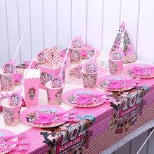Original LOL poupées surprise festival fête danniversaire jouets figure décoration fournitures vacances tasse assiette en papier nappe fournitures