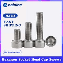 10/20/50Pcs M2.5 M3 M4 M5 M6 DIN912 304 Stainless Steel Hexagon Socket Head Cap Screws Hex Socket Bicycle Bolts HW003