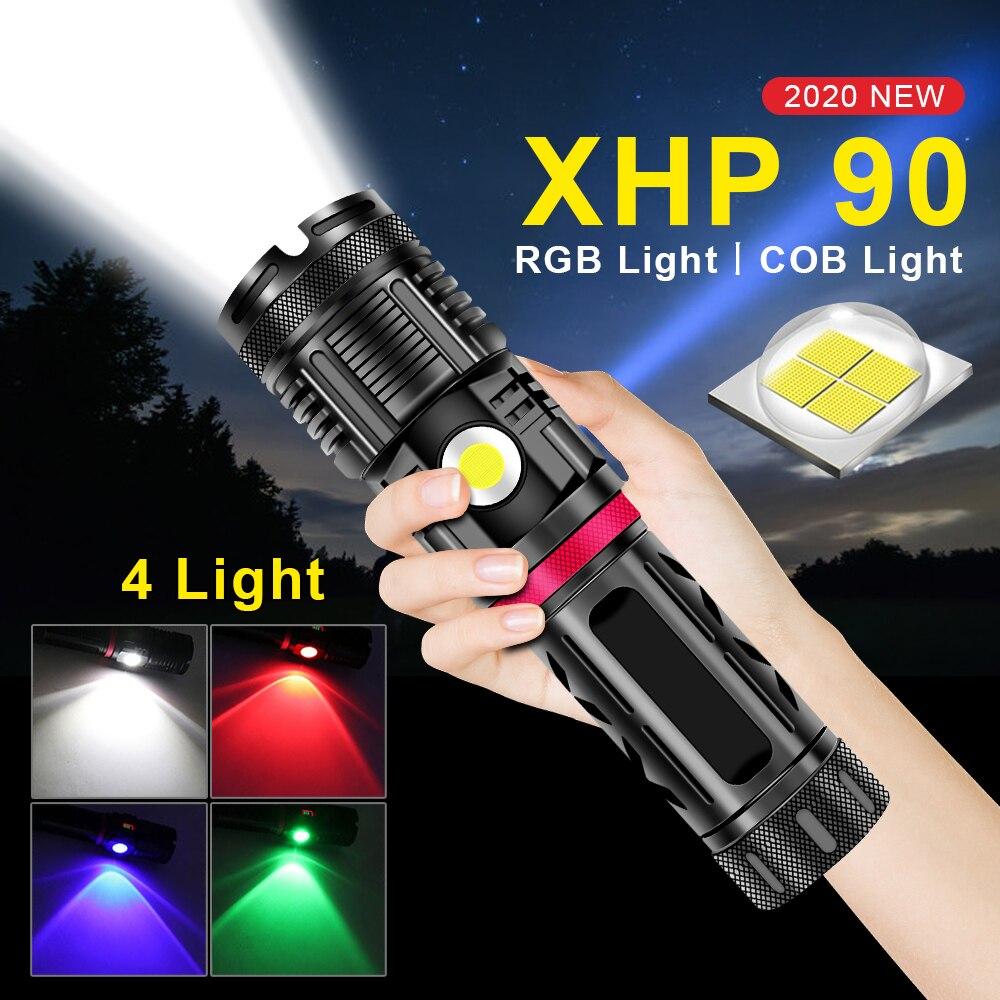 2021 nova alta poderosa led xhp90 lanterna cob flash luz 18650 recarregavel tatico