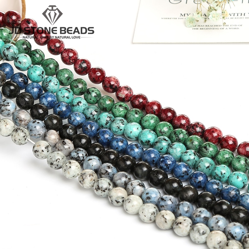 Grânulos de pedra de gergelim colorido genuíno 6 8 10mm para fazer jóias diy pulseira colar acessório pedra natural redonda solta bea