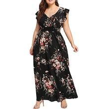 Women Dress 2021 Casual Short Sleeve Long Dress Boho Floral Print Maxi Dress V Neck Bandage Elegant