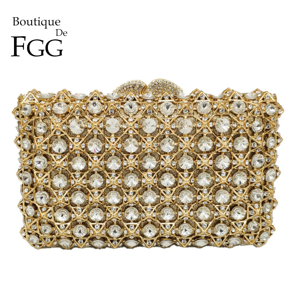Boutique De FGG-حقيبة يد نسائية مفرغة من الكريستال ، حقيبة سهرة فاخرة ، مجموعة خريف 2018 الجديدة