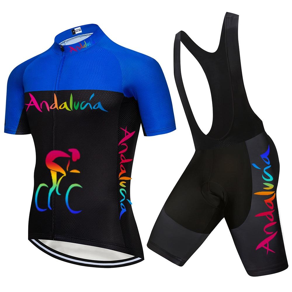 Equipo Andalucía Jersey bicicleta Ciclismo Ropa conjuntos de manga corta Ropa de...
