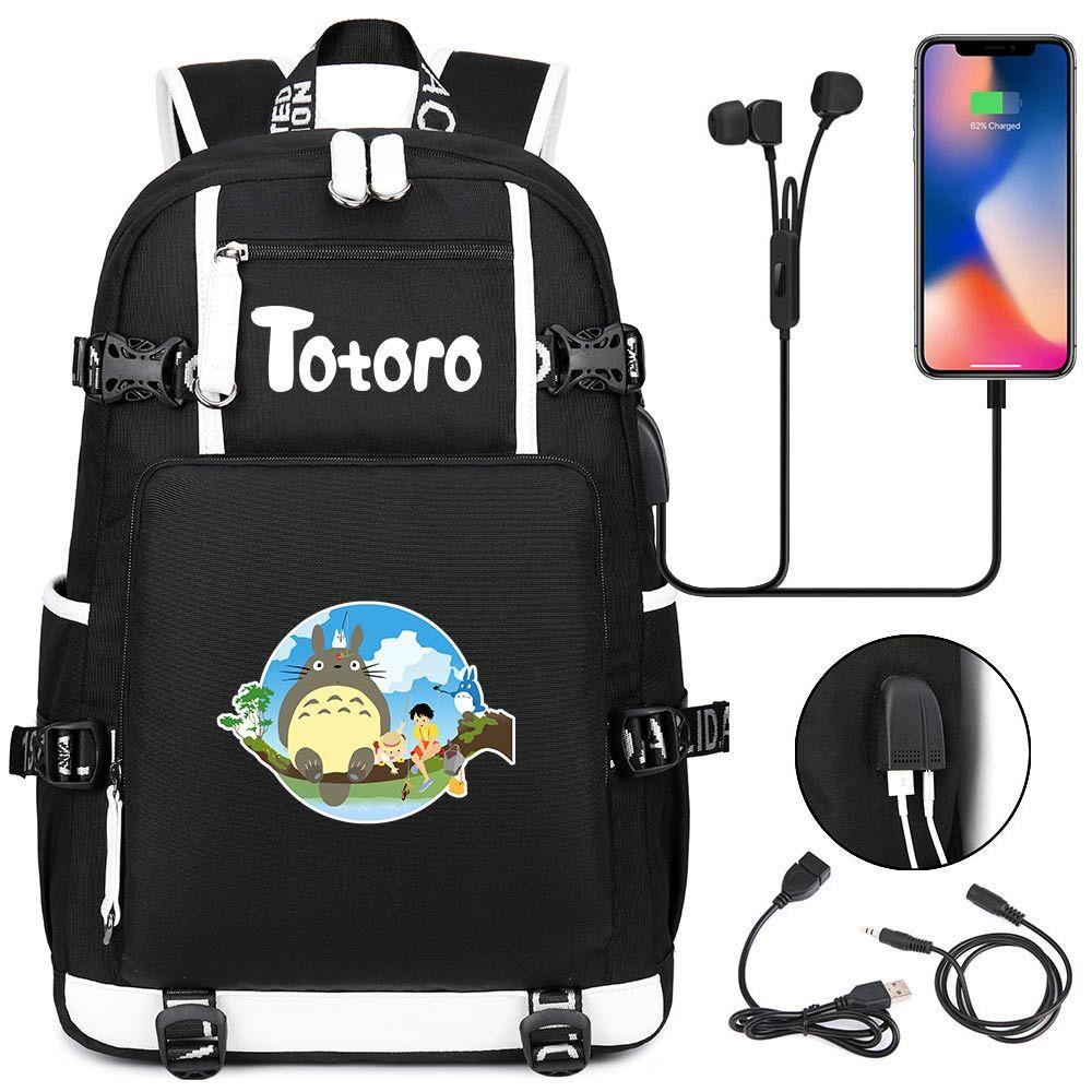 Mochila multifunción con USB para adolescentes de My Neighbor Totoro, bolso escolar para hombres y mujeres, bolso escolar para niños, Mochila de viaje para ordenador portátil