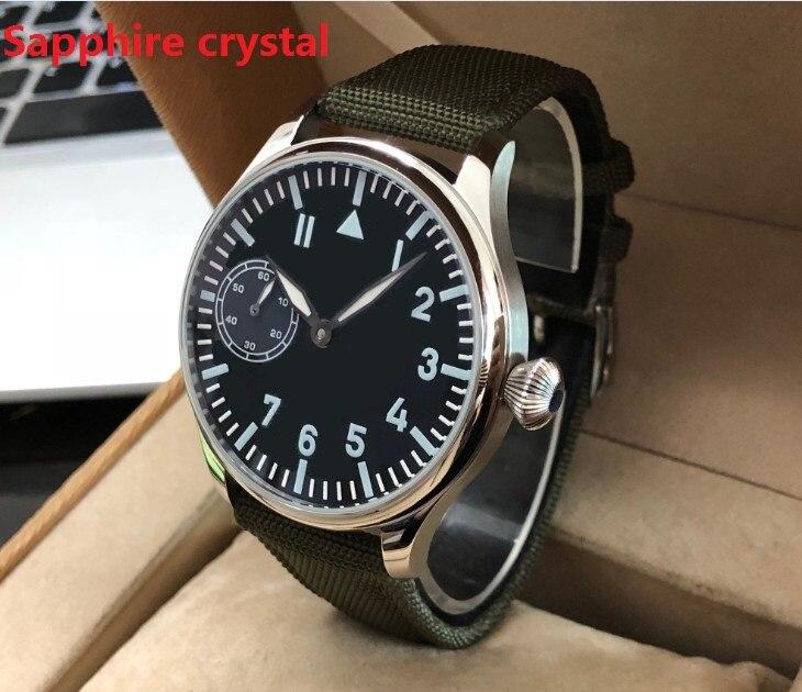 Cristal de zafiro 44mm asiático 6497 tubo cuello de cisne 17 joyas cuerda a mano mecánica movimiento luminoso relojes mecánicos gr73-20