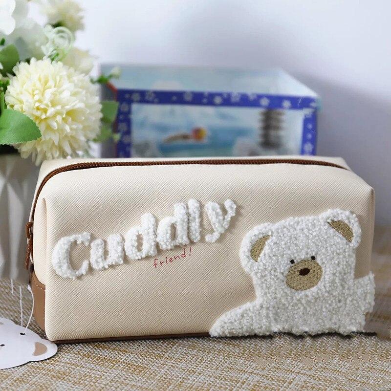 pencil bag korean zipper cute cartoon bear High Capacity  Pencil Bags For Girls Gift School Supplies Stationery
