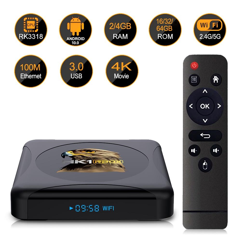 Caixa de tv inteligente hk1rbox r1 mini android 10 rockchip rk3318 4g 64gb suporte 1080p 4k mídia google play youtube hk1 caixa conjunto caixa superior