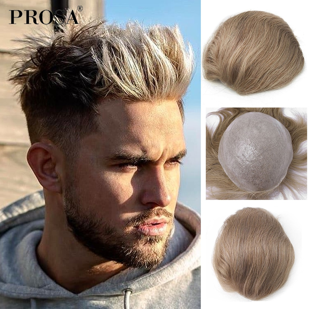 Slight Wave Thin Skin Men's Wig Man Natural Male Wig Man Hairpiece Real Human Hair System for Men Fashion Mens
