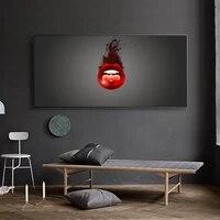 Peinture a lhuile avec personnage de dessin anime rouge  grande levre  dessin sur toile  salon  couloir  bureau  decoration murale de la maison