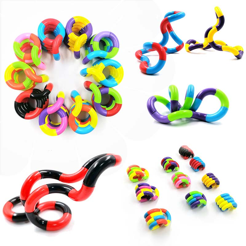 50Pcs Colorful Twisting Rope Ring Winding Weaving Ball Decompression Venting Pull Toy for Kids