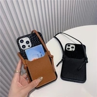 luxury animal skin pattern card package soft case for iphone 11 12 pro max 7 8 plus xr x xs leather lanyard phone cover fundas