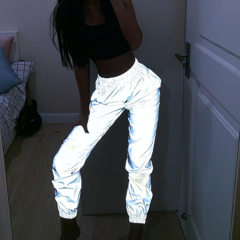 Pantalones casuales punk grises para mujer, pantalones elásticos, pantalones de chándal para mujer, pantalones reflectantes, pantalones de baile hiphop de neón para mujer
