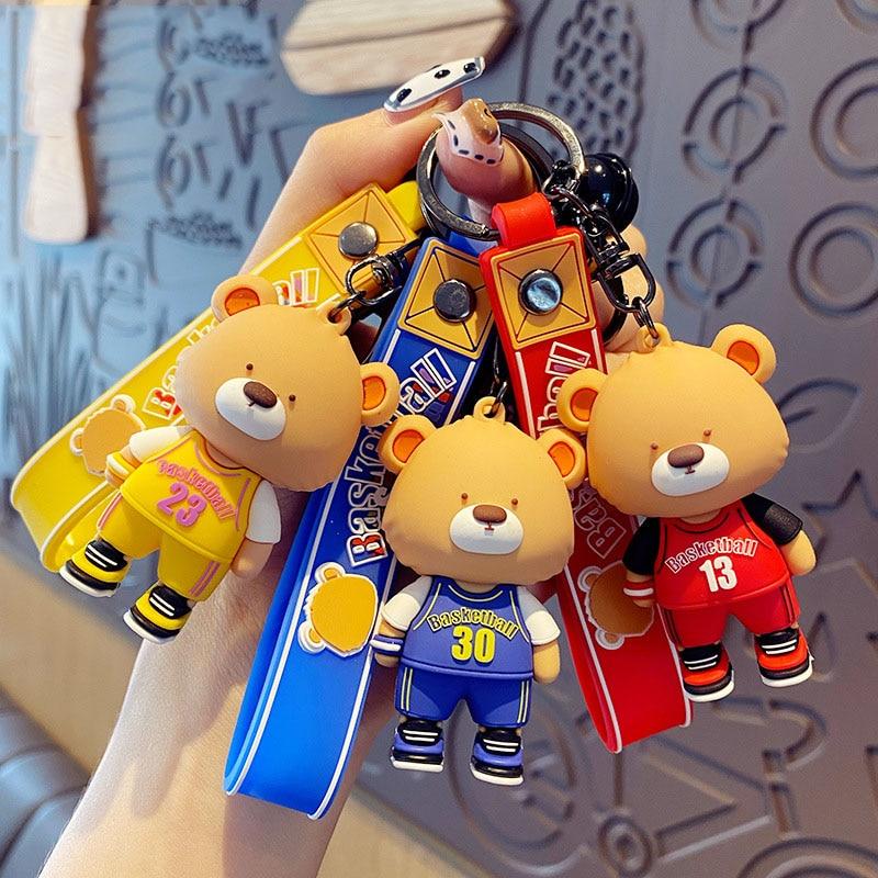 Cartoon Basketball Jersey Bear Keychain For Key Pendent Creative Cute Sport Bear Animal Keyring Girl