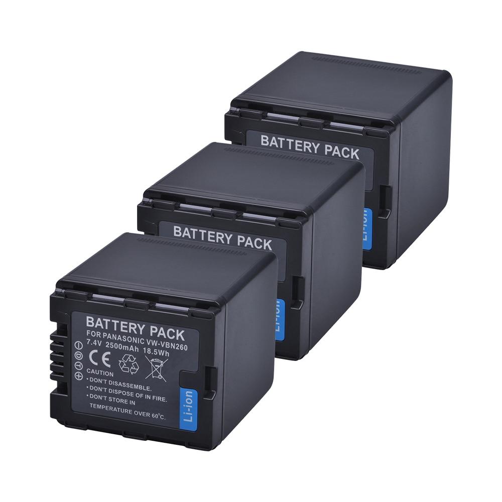 3pc VW-VBN260 VW VBN260 VBN260 Li-ion Battery for Panasonic HC-X800 HC-X900 HC-X900M HC-X910 HC-X920 HC-X920M HDC-HS900 HDCSD800