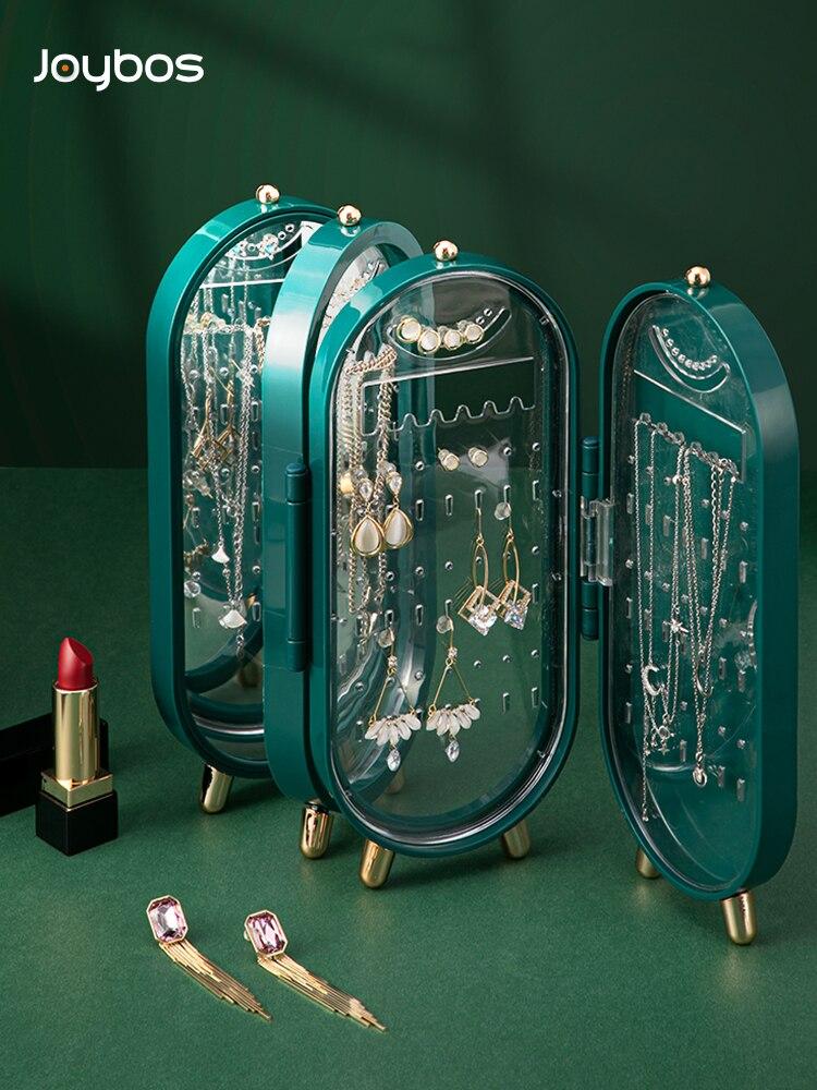 JOYBOS Jewelry Folding Storage Box Earrings Display Stand 4 Layer 240 Hole Mirror Retro Screen Dustp