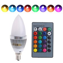 1-10PCS 3W RGB E12 E14 Candelabra LED Bulb Color Changing Light Lamp Bulb 16 Colors For Home Bar Party KTV Decorative Lights D20