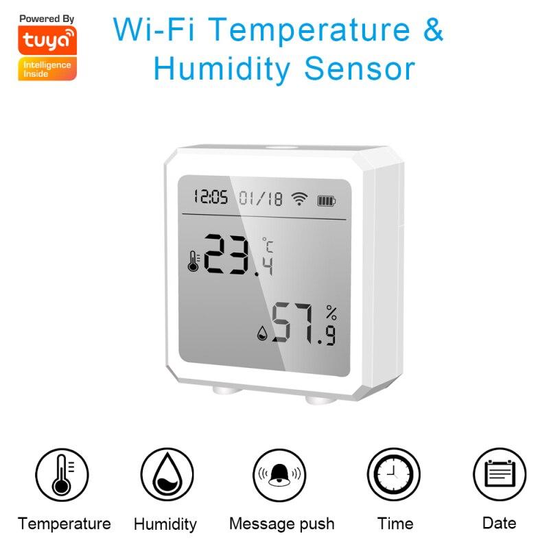 واي فاي استشعار درجة الحرارة والرطوبة فائقة منخفضة استهلاك الطاقة طاقة البطارية مع شاشة LCD يعمل مع أليكسا جوجل