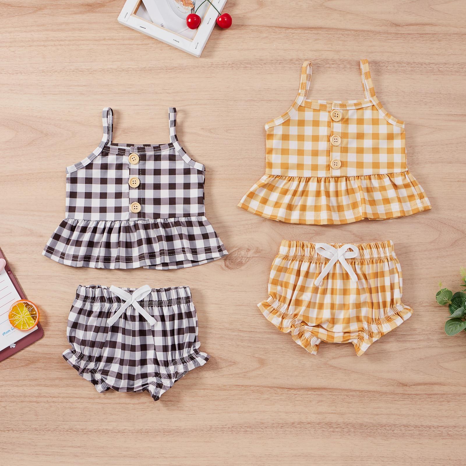 Детский летний комплект OPPERIAYA из двух предметов для маленьких девочек, повседневный Модный комплект на пуговицах, сарафан в клетку, футболк... сарафан для девочек