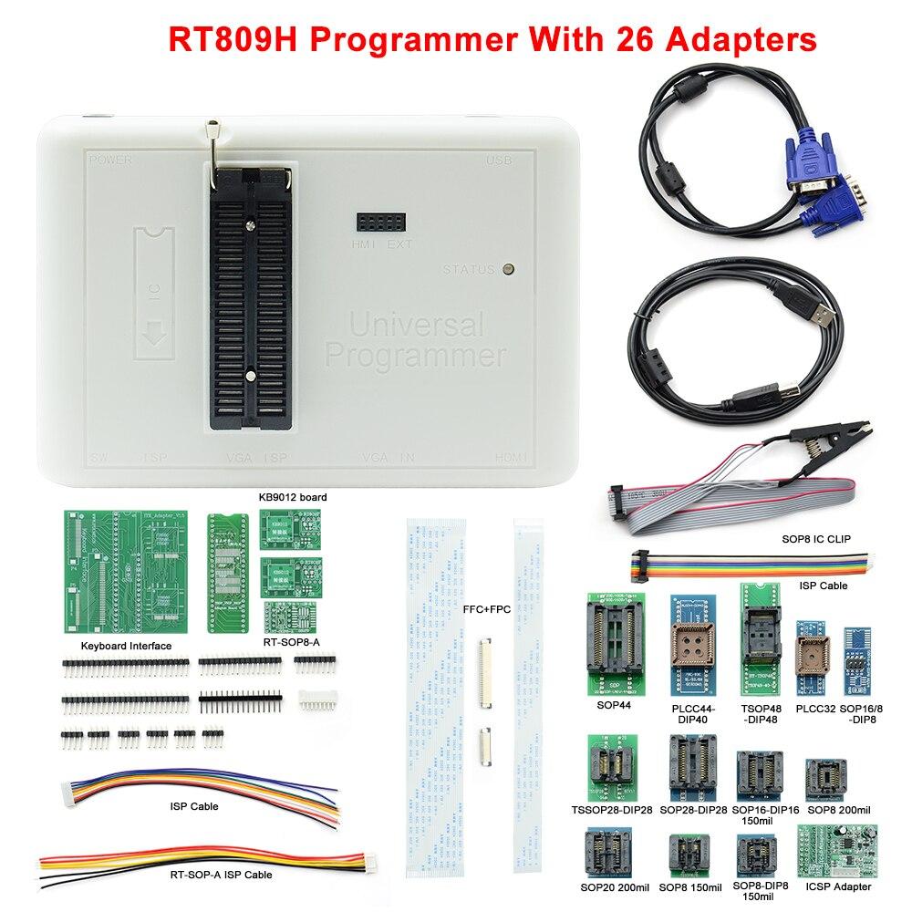 مبرمج عالمي أصلي UPMELY طراز RT809H EMMC-Nand FLASH سريع للغاية + 26 قطعة جهاز تجميع خاص بخطأ تشخيصي ذكي