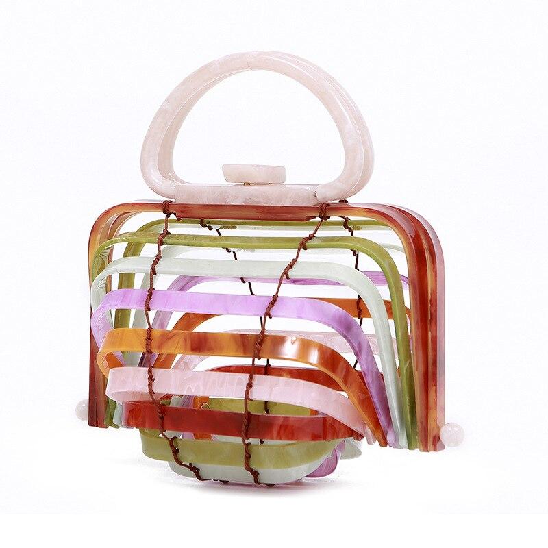 Holiday Beach Handheld Acrylic Bamboo Basket Hollowed-Out Handbag Folding Shell Bag 2020 New Style Makeup Bag