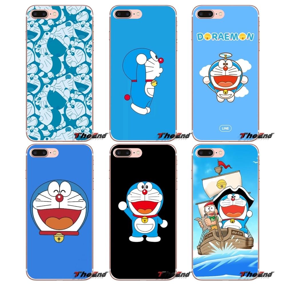 Funda transparente suave cubre lindo Doraemon para Samsung Galaxy S2 S3 S4 S5 MINI S7 S6 edge S8 S9 Plus nota 2 3 4 5 8 Coque Fundas