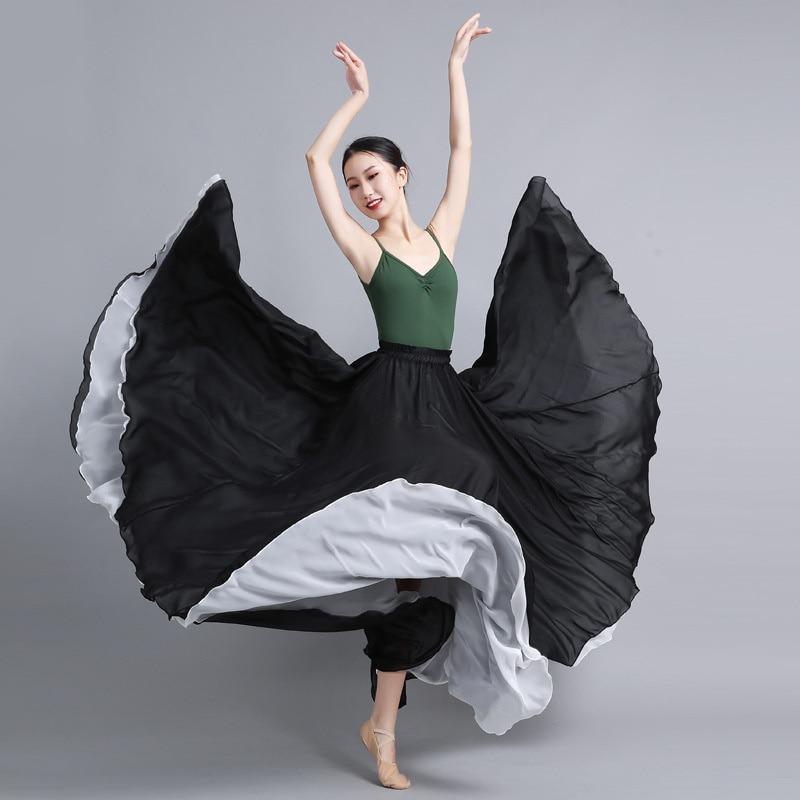 طبقة مزدوجة الشيفون فستان ماكسي عادية الصيف عطلة الفلامنكو التنانير النسائية سوينغ كبير ملون طويل تنورة رقص 2021 جديد
