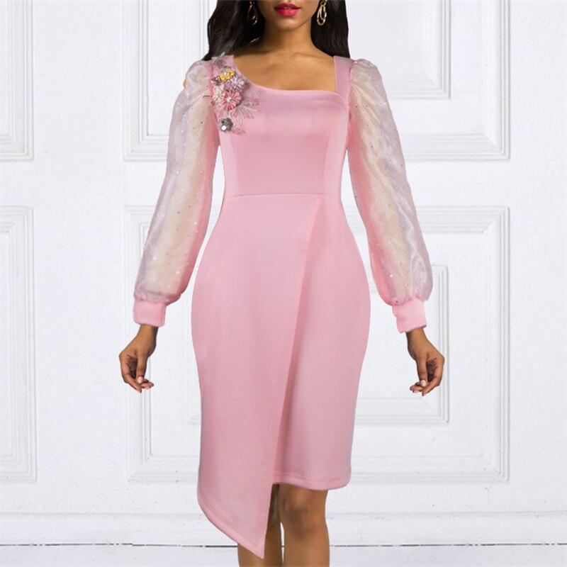 Rosa Party Kleid Blume Appliques Sehen Durch Blibli Mesh Ärmeln Unregelmäßige wrap Kleid Sexy Feiern Geburtstag Datum Nacht Roben