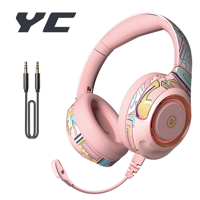 YC Wireless Bluetooth Headphone With Mic Stereo Earphone Wired Gaming Headset Gifts For Overear Lapt