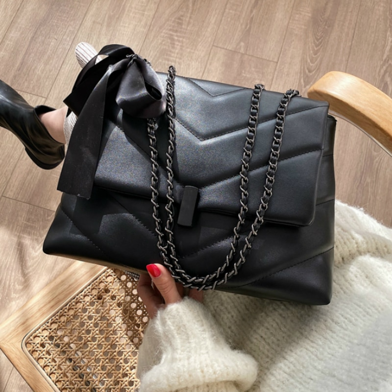 V-line black Crossbody Bag For Women 2021 Fashion Sac A Main Female Shoulder Bag Female Handbags And Purses With Scarves